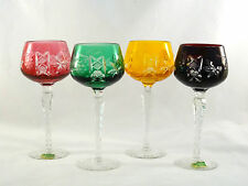 Lausitzer German Crystal Cut to Clear Multi Color Hock Wine Glasses Mint!