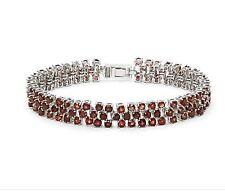 RUBY RED GARNET & DIAMOND SILVER TENNIS BRACELET 13.02 CWT EARTH MINED STONES