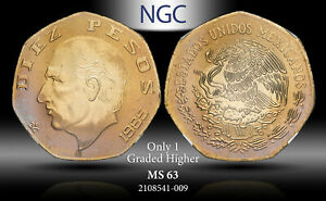 1985-Mo MEXICO 10 PESOS NGC MS63 ONLY 1 GRADED HIGHER ***TONED***