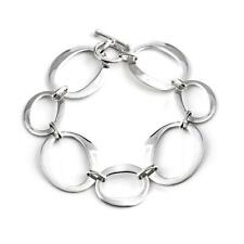 Silverly .925 Sterling Silver Open Oval Circles Link Bracelet, 19.5 cm