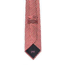 Paul Malone Red Line Tie - Luxury Silk Tie Jacquard Red with Geometric Pattern