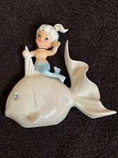 Vintage Norcrest Ceramic Mermaid on Iridescent Fish, Wall Plaque, P697