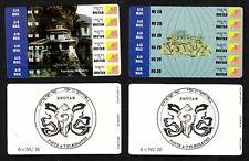 1994 Bhutan stampcards Sc 1099 1100 innovative sticker stamps