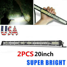 2X Super Slim LED Light Bar 20inch 156W Single Row Combo Offroad Driving Lamp US