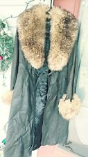 Retro Fox Fur Vintage 70s Collar Shearling Belted Hippy Long Jacket Coat Size S
