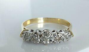 Beautiful Vintage 1974 18ct Gold & Diamond Five Stone Engagement Ring UK R 3.3g