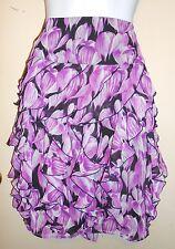 Worthington Ladies Ruffled Chiffon Skirt London Purple Combo 14 NWT