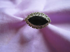 Sterling Silver Ring Marquis Black & Clear Stones Women's Ring Size 5 SS 925 Vtg