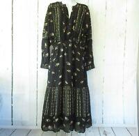 New Dolan Santos Dress M Medium Black Bandana Floral Midi Boho Peasant Prairie