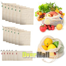 Lots Reusable Organic Cotton Mesh Grocery Shopping Produce Bags Washable