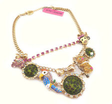 Betsey Johnson Day at the Zoo Multi Charm 2-Strand Necklace, Parrot, Koala, NWT