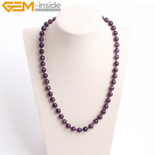 Natural Purple Amethyst Quartz Stone Beads Jewelry Healing Beaded Necklace Gift