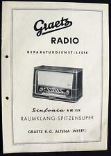 Historische Radio-Anleitung ~Graetz Sinfonia 4 R / 221~ 1955/56 Original Manual