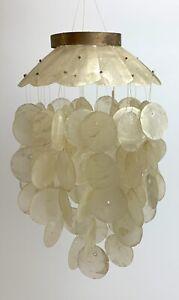 Genuine Vtg Capiz Shell & Brass Wind Chime Beach Decor Seashell Natural/White