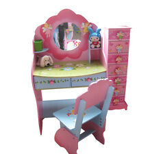 LARGE WOODEN FAIRY GIRL DRESSING STUDY TABLE DESK VANITY WITH MIRROR CHAIR STOOL