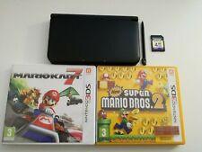 Nintendo 3DS XL Schwarz + Stift 4GB SD Mario Kart 7 Super Mario Bros, ohne Kabel