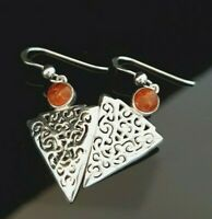 Ladies 925 Sterling Silver Filigree Baltic Amber Triangle Dangle Drop Earrings