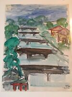 """Emil Hess Signed """"The River"""" Original Watercolor 8"""" x 10"""""""