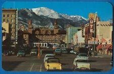Street Scene, Pikes Peak Ave W/ Antlers Hotel, Pikes Peak In Bkgrd, Colo Spgs CO