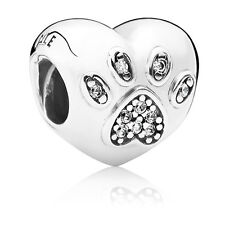 Genuine Pandora I Love My Pet Animal Paw Print with CZ Charm 791713CZ