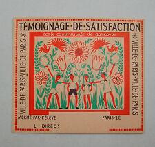 TEMOIGNAGE BILLET DE SATISFACTION VILLE PARIS ANCIEN ECOLE SCOLAIRE CADEAU OLD