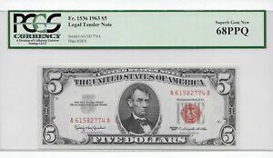 Gem 68! 1963 $5 Legal Tender Note PCGS 68PPQ