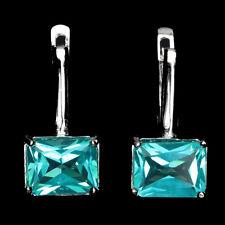 Sterling Silver 925 Genuine Octagon Cut Paraiba Blue Topaz Stud Design Earrings