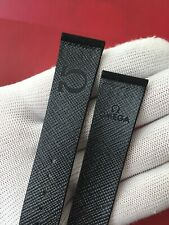 """Strap/Strap OMEGA CORFAM Leather Suede Black 20MM """" New Old Stock 1970 """""""