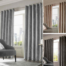 Sienna Home Crushed Velvet PAIR Eyelet Ring Top Curtains Fully Lined Ready Made