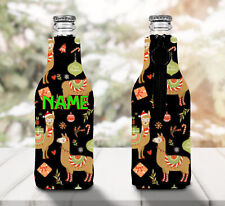 Llama Personalised Stubby Holder Zip Up Bottle Cooler Collapsible - Christmas