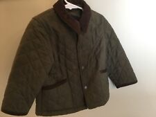 Burberry Quilted Jacket Boys Corduroy Trim 3 Lined Snap Closure Green Brown