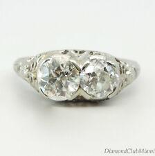 Antique Art Deco 1.75ct Diamond 18kt gold Filigree Engagement Ring 3.3 Grams