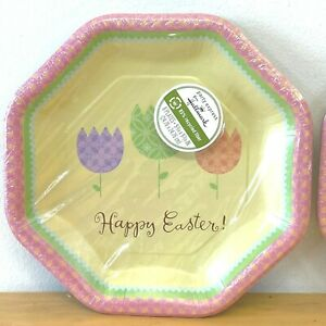 Hallmark Party Express Happy Easter Paper 16 Plates Tulips Octagon Shape NOS PL1