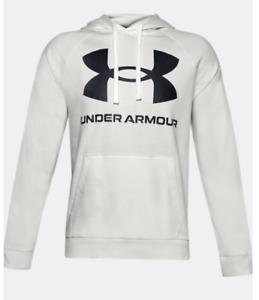 Under Armour Hoodie Mens XL or 2XL New Rival Fleece Big Logo Sweatshirt White