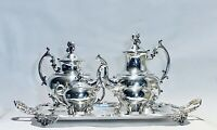 Stunning Antique Set Of Five Tea Set Meriden Silver Plated On Copper