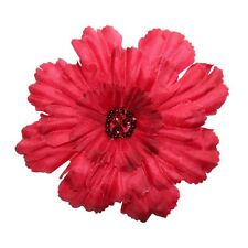 ID 8648 3D Layered Red Fabric Zinnia Flower Garden Plant Iron On Applique Patch