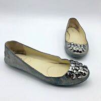 Enzo Angiolini Women Gray Shiny Studded Ballet Flat Shoe Size 6.5M Pre Owned