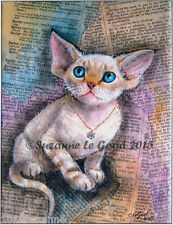 Devon Rex cat art print from original painting limited edition Suzanne Le Good