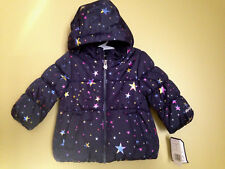 NWT OshKosh B'Gosh Baby Girl Navy Blue Multi Stars Winter Hooded Jacket 12 M $78