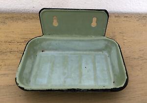 Vintage Green Metal Soap Dish Wall Mount Flawed