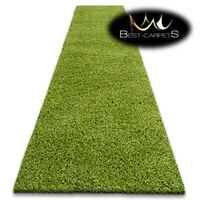 Modern Hall Runners soft SHAGGY Carpet 5cm Green Width 60-140cm extra long RUGS