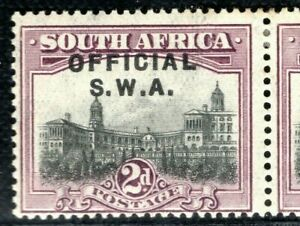 SOUTH WEST AFRICA Official Stamps 2d Pair Overprint Mint MM CBLUE157