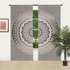 Black Grey & White Ombre Mandala Window Curtain Indian Drape Handmade Curtain