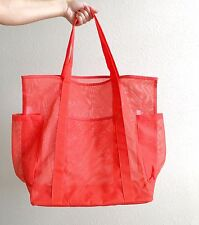 Bright Red Oversized Mesh See Through Tote Bag Handbag