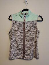 Jamie Sadock Women's Green, Black, Gray Sleeveless Golf Polo Shirt Size Med-A45