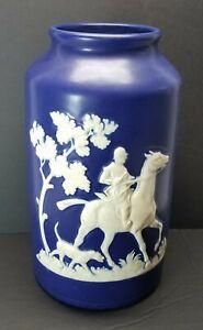 """c1930's Signed Weller Art Pottery Vase THE CHASE Fox Hunt Scene Cobalt Blue 8.5"""""""