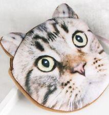 SOFT FURRY BROWN CAT COIN PURSE CHILDRENS KIDS BAG MAKEUP TABBY KITTEN UK SELLER