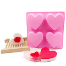 4 Love Heart Mould Silicone Soap Mold Chocolate Candy Gummy Maker Ice Jelly Tray