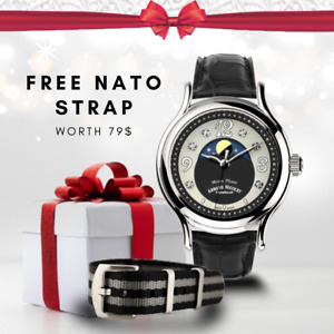 Armand Nicolet Moon Phase Automatic Luxury Watch with Free Nato Strap