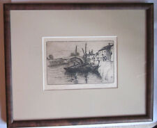 Etching of Boats 1911 by Bertha E. Jaques (1863-1941) framed